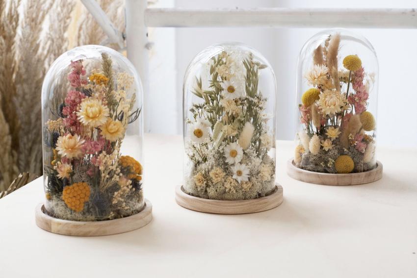 cloches de fleurs sechees